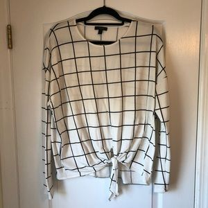 J.Crew Black & White Window Pane Tie Front Sweater